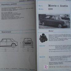 Coches y Motocicletas: FICHA TECNICA, MORRIS 1100,AUSTIN 1100. Lote 10279930