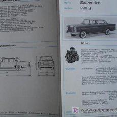 Coches y Motocicletas: FICHA TECNICA, MERCEDES 220S. Lote 7937507