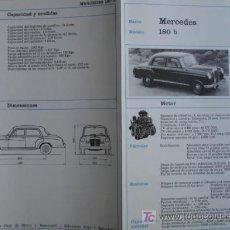 Coches y Motocicletas: FICHA TECNICA, MERCEDES 180B. Lote 7800457