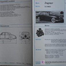 Coches y Motocicletas: FICHA TECNICA, JAGUAR 3.4 MK2. Lote 7937510