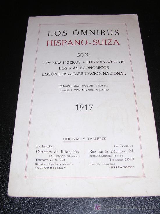 LOS OMNIBUS HISPANO - SUIZA, 1917.ILUSTRADO (Coches y Motocicletas Antiguas y Clásicas - Catálogos, Publicidad y Libros de mecánica)