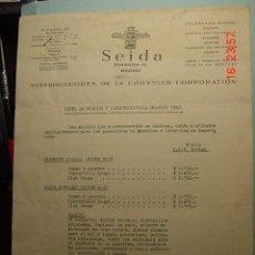 Coches y Motocicletas: 1205 CHRYSLER - SEIDA - MADRID - LISTA DE PRECIOS COCHES PLYMOUTH - DODGE AÑO 1949 COSAS&CURIOSAS. Lote 22456267