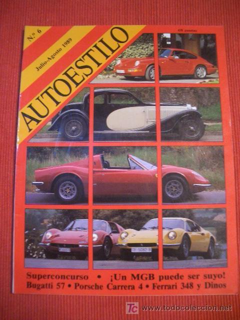 AUTOESTILO Nº 6 JULIO DE 1989, FERRARI DINO, BUGATTI, PORSCHE 911, AUDI V8 (Coches y Motocicletas Antiguas y Clásicas - Catálogos, Publicidad y Libros de mecánica)