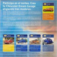 Coches y Motocicletas: FOLLETO PUBLITARIO DE CHEVROLET. CONTIENE 9 PEGATINAS DE SUS MODELOS ACTUALES.. Lote 19901344