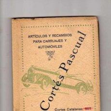 Coches y Motocicletas: E. CORTES PASCUAL, ARTICULOS Y RECAMBIOS PARA CARRUAJES Y AUTOMOVILES, 1927, HISPANO SUIZA ETC ETC. Lote 16684248