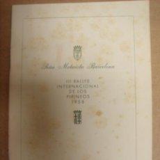 Coches y Motocicletas: REGLAMENTO III RALLYE INTERNACIONAL DE LOS PIRINEOS 1958 PEÑA MOTORISTA BARCELONA. Lote 8260471