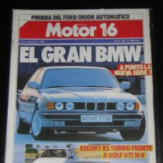 Coches y Motocicletas: MOTOR 16 - Nº 150 - SEPTIEMBRE 1986 - BMW SERIE 7 / FORD ESCORT RS TURBO / VOLKSWAGEN GOLF GTI 16V. Lote 43441618