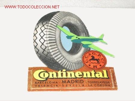 PUBLICIDAD DE LOS NEUMÁTICOS CONTINENTAL. (Coches y Motocicletas Antiguas y Clásicas - Catálogos, Publicidad y Libros de mecánica)