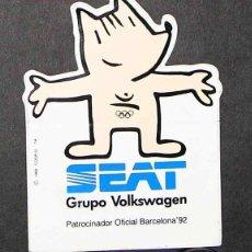 Coches y Motocicletas: SEAT: PEGATINA COBI-SEAT GRUPO VOLKSWAGEN PATROCINADOR OFICIAL BARCELONA '92. Lote 2418175