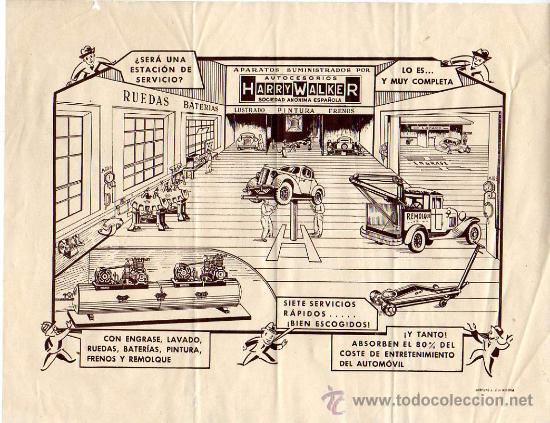 PUBLICIDAD DE LA ESTACIÓN DE SERVICIO AUTOCESORIOS HARRY WALKER (Coches y Motocicletas Antiguas y Clásicas - Catálogos, Publicidad y Libros de mecánica)