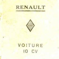 Coches y Motocicletas: MANUAL DE ENTRETENIMIENTO DEL RENAULT 10 CV. Lote 27095612