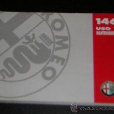 Coches y Motocicletas: ALFA ROMEO 146 - MANUAL USUARIO ORIGINAL - 1995 - ESPAÑOL. Lote 10197872