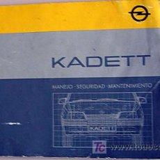 Coches y Motocicletas: OPEL KADETT - 1985 - TODA LA GAMA - MANUAL INSTRUCCIONES USUARIO, TEXTO EN ESPAÑOL.. Lote 13832571