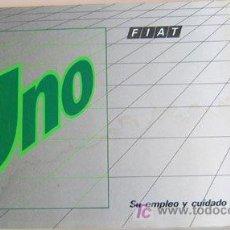 Coches y Motocicletas: FIAT UNO - 1990 - TODA LA GAMA - MANUAL INSTRUCCIONES USUARIO, TEXTO EN ESPAÑOL.. Lote 19667930