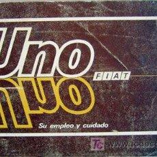 Coches y Motocicletas: FIAT UNO - 1988 - TODA LA GAMA - MANUAL INSTRUCCIONES USUARIO, TEXTO EN ESPAÑOL.. Lote 19667931