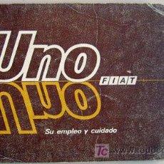 Coches y Motocicletas: FIAT UNO - 1987 - TODA LA GAMA - MANUAL INSTRUCCIONES USUARIO, TEXTO EN ESPAÑOL.. Lote 19667935