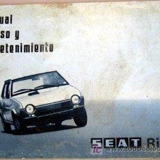 Coches y Motocicletas: SEAT RITMO - 1979 - TODA LA GAMA - MANUAL INSTRUCCIONES USUARIO, TEXTO EN ESPAÑOL. . Lote 13783328