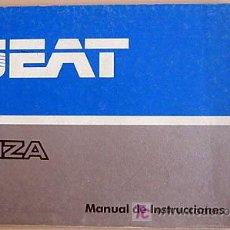 Coches y Motocicletas: SEAT IBIZA - 1986 - TODA LA GAMA - MANUAL INSTRUCCIONES USUARIO, TEXTO EN ESPAÑOL. . Lote 13783330
