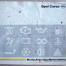 Coches y Motocicletas: OPEL CORSA - 1995 - TODA LA GAMA - MANUAL INSTRUCCIONES USUARIO, TEXTO EN ESPAÑOL. . Lote 13832583