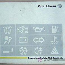 Coches y Motocicletas: OPEL CORSA - 1994 - TODA LA GAMA - MANUAL INSTRUCCIONES USUARIO, TEXTO EN ESPAÑOL. . Lote 13832584