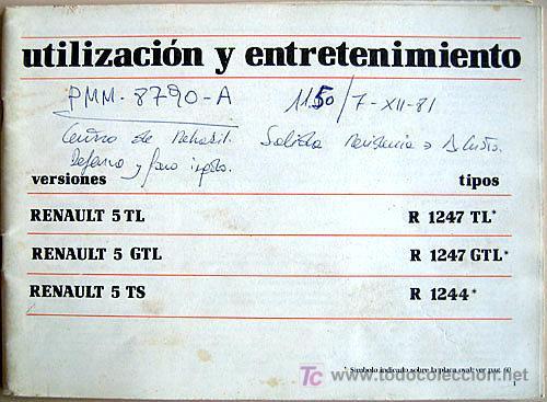 RENAULT 5- 1980 - TL - GTL - TS - MANUAL INSTRUCCIONES USUARIO, TEXTO EN ESPAÑOL. (Coches y Motocicletas Antiguas y Clásicas - Catálogos, Publicidad y Libros de mecánica)