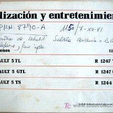 Coches y Motocicletas: RENAULT 5- 1980 - TL - GTL - TS - MANUAL INSTRUCCIONES USUARIO, TEXTO EN ESPAÑOL. . Lote 133859789