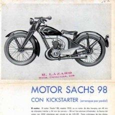 Coches y Motocicletas: CATALOGO PUBLICITARIO MOTOCICLETA SACHS . Lote 12149040