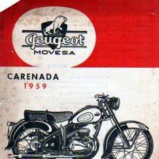 Coches y Motocicletas: FOLLETO PUBLICITARIO MOTOCICLETA PEUGEOT MOVESA CARENADA (EN ESPAÑOL). Lote 12149697