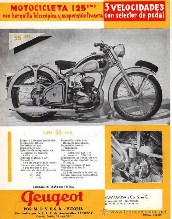 FOLLETO PUBLICITARIO MOTOCILCETA PEUGEOT 125 CM (Coches y Motocicletas Antiguas y Clásicas - Catálogos, Publicidad y Libros de mecánica)