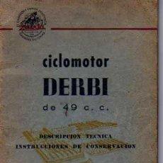 Coches y Motocicletas: MANUAL MANTENIMIENTO Y CONSERVACION DE CICLOMOTOR DERBI 49 CC. Lote 12152786