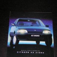 Coches y Motocicletas: CITROEN AX SIGNO - CATALOGO PUBLICIDAD ORIGINAL - 1992 - ESPAÑOL. Lote 12438339