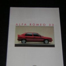 Coches y Motocicletas: ALFA ROMEO 33 - CATALOGO PUBLICIDAD ORIGINAL - 1986 - FRANCES. Lote 12484558