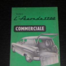 Coches y Motocicletas: SIMCA ARONDE 1300 COMERCIAL - CATALOGO PUBLICIDAD ORIGINAL - 1956 - FRANCES. Lote 12561478