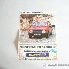 Coches y Motocicletas: CATÁLOGO TALBOT SAMBA LE.. Lote 26846176