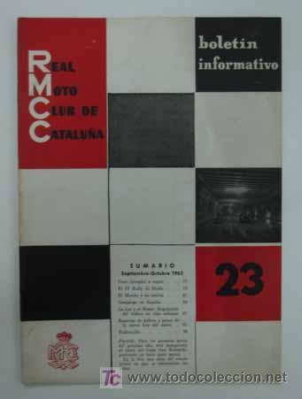 REAL MOTO CLUB DE CATALUÑA. BOLETÍN INFORMATIVO. 1963. Nº 23 (Coches y Motocicletas Antiguas y Clásicas - Catálogos, Publicidad y Libros de mecánica)