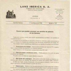 Coches y Motocicletas: LANZ IBÉRICA S.A. FÁBRICA DE TRACTORES SERVICIO TÉCNICO BOLETÍN Nº 27 - 1 DE MARZO DE 1958. Lote 26726404