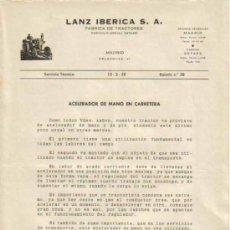 Coches y Motocicletas: LANZ IBÉRICA S.A. FÁBRICA DE TRACTORES SERVICIO TÉCNICO BOLETÍN Nº 28 (15-03-1958). Lote 26726405