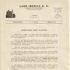 Coches y Motocicletas: LANZ IBÉRICA S.A. FÁBRICA DE TRACTORES SERVICIO TÉCNICO BOLETÍN Nº 29 (1-04-1958). Lote 26762339