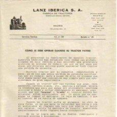 Coches y Motocicletas: LANZ IBÉRICA S.A. FÁBRICA DE TRACTORES SERVICIO TÉCNICO BOLETÍN Nº 30 (15-04-1958). Lote 26762340