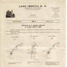 Coches y Motocicletas: LANZ IBÉRICA S.A. FÁBRICA DE TRACTORES SERVICIO TÉCNICO BOLETÍN Nº 31 (1-05-1958). Lote 26762341