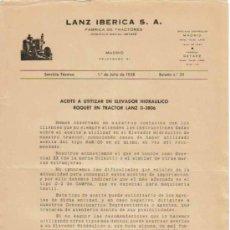 Coches y Motocicletas: LANZ IBÉRICA S.A. FÁBRICA DE TRACTORES SERVICIO TÉCNICO BOLETÍN Nº 35 (1-07-1958). Lote 26794674
