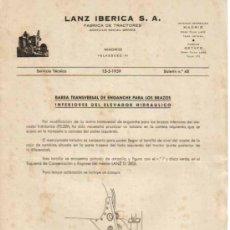 Coches y Motocicletas: LANZ IBÉRICA S.A. FÁBRICA DE TRACTORES SERVICIO TÉCNICO BOLETÍN Nº 48 (15-05-1959). Lote 26794676