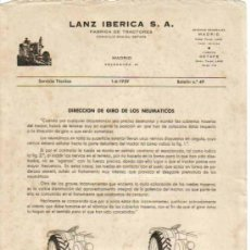 Coches y Motocicletas: LANZ IBÉRICA S.A. FÁBRICA DE TRACTORES SERVICIO TÉCNICO BOLETÍN Nº 49 (1-06-1959). Lote 26794677