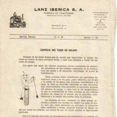 Coches y Motocicletas: LANZ IBÉRICA S.A. FÁBRICA DE TRACTORES SERVICIO TÉCNICO BOLETÍN Nº 56 (15-09-1959). Lote 26794679