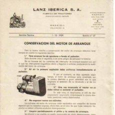 Coches y Motocicletas: LANZ IBÉRICA S.A. FÁBRICA DE TRACTORES SERVICIO TÉCNICO BOLETÍN Nº 57 (1-10-1959). Lote 26762333