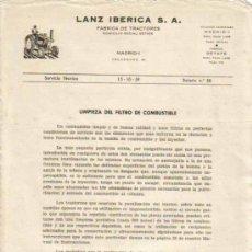 Coches y Motocicletas: LANZ IBÉRICA S.A. FÁBRICA DE TRACTORES SERVICIO TÉCNICO BOLETÍN Nº 58 (15-10-1959). Lote 26762334
