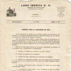 Coches y Motocicletas: LANZ IBÉRICA S.A. FÁBRICA DE TRACTORES SERVICIO TÉCNICO BOLETÍN Nº 59 (1-11-1959). Lote 26762335