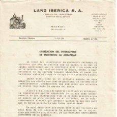 Coches y Motocicletas: LANZ IBÉRICA S.A. FÁBRICA DE TRACTORES SERVICIO TÉCNICO BOLETÍN Nº 61 (1-12-1959). Lote 26762336