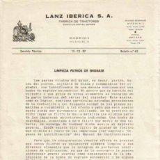 Coches y Motocicletas: LANZ IBÉRICA S.A. FÁBRICA DE TRACTORES SERVICIO TÉCNICO BOLETÍN Nº 62 (15-12-1959). Lote 26762337