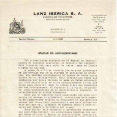 Coches y Motocicletas: LANZ IBÉRICA S.A. FÁBRICA DE TRACTORES SERVICIO TÉCNICO BOLETÍN Nº 63 (1-1-1960). Lote 26762338